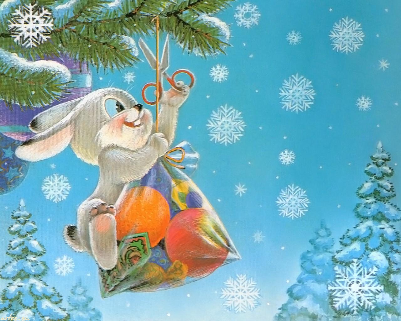 Новогоднее открытки с зайцем